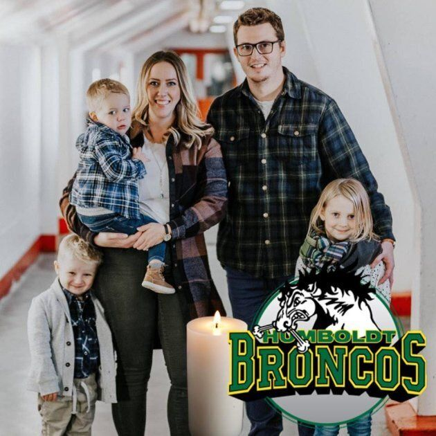 Carissa Gasper posted this family photo to her Facebook, including a logo to support the Humboldt Broncos...