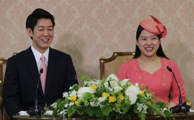 Princess Ayako and her fiance Kei Moriya announce their engagement at the Imperial Household Agency in...