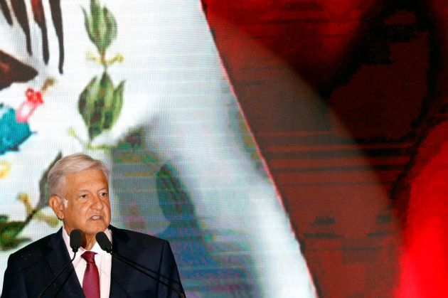 Mexico's next President Andres Manuel Lopez Obrador addresses supporters, in Mexico City, Mexico on July...
