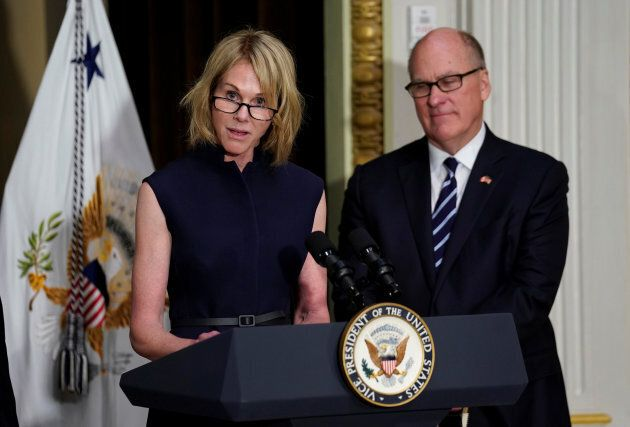 U.S. Ambassador to Canada Kelly Knight Craft speaks after she was sworn in, as her husband Joe Craft...