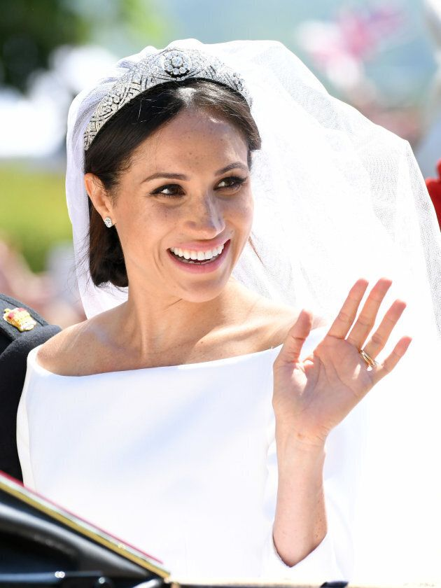 The Duchess of Sussex leaves Windsor Castle after getting married at St. Georges Chapel on May 19,