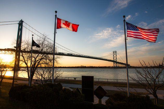 The Ambassador Bridge links Detroit, Mich. with Windsor, Ont.