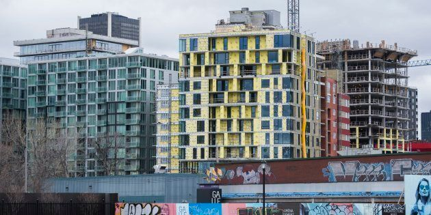 Condominium buildings under construction in Montreal's Griffintown neighbourhood. The city is quickly...