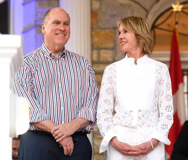 U.S. Ambassador to Canada Kelly Craft and her husband Joe Craft look on before her speech at the Fourth...