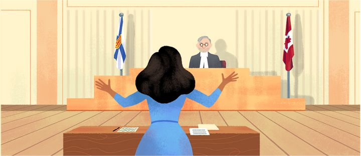 Desmond appeared in court following her arrest. Can you spot the Nova Scotia detail in this Google Doodle illustration by Sophie Diao? (Hint: it's the flag)