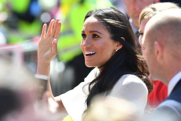 The duchess waves to fans in Cheshire, U.K. on June 14, 2018.