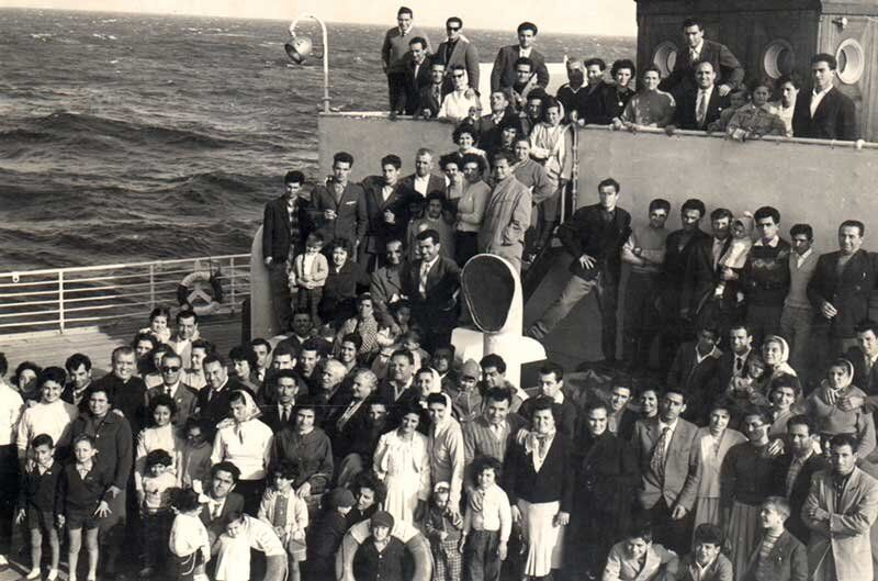Italians aboard the S.S. Italia on their way to Canada, in 1959.