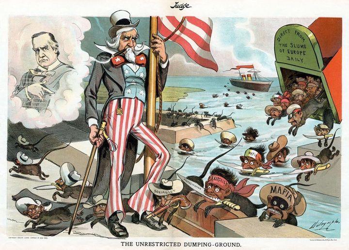 An anti-Italian cartoon from the June 6, 1903, edition of Judge Magazine.