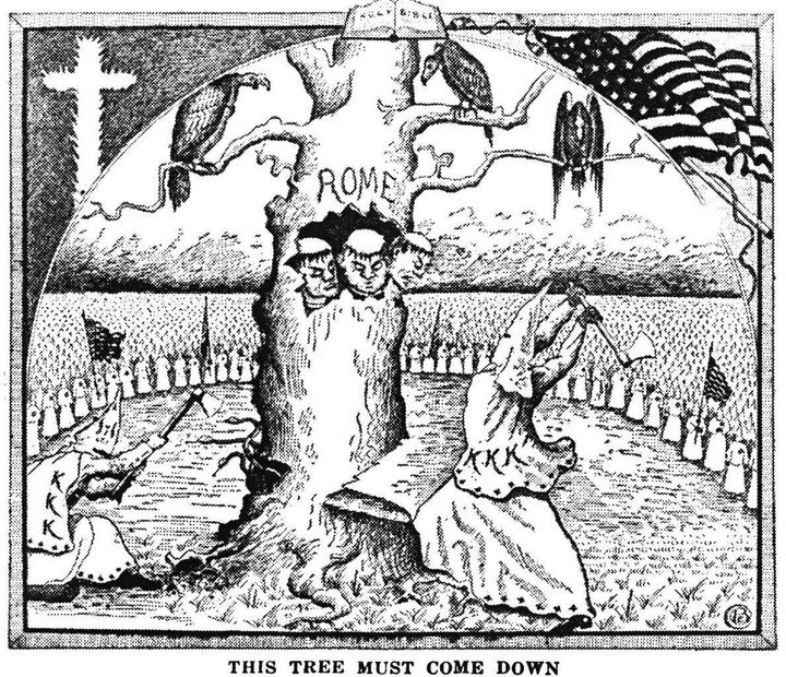 """An illustration from """"The Ku Klux Klan In Prophecy,"""" a book written by Bishop Alma Bridwell White in 1925."""