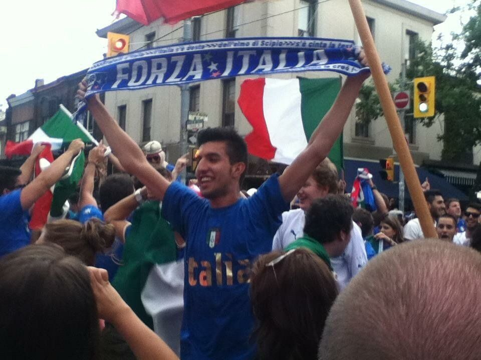 The author celebrating Italy's Euro Cup win against England in downtown Toronto's Little Italy on June...