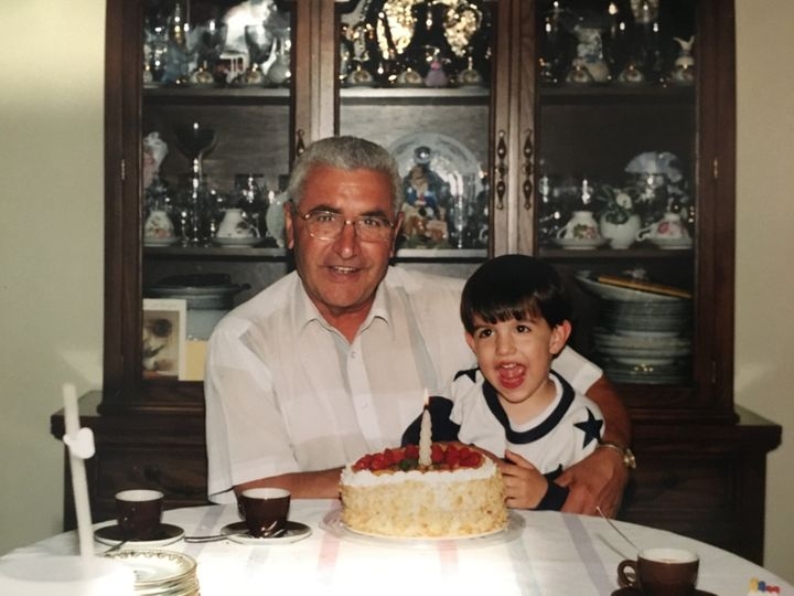 The author celebrating his nonno's birthday with him.