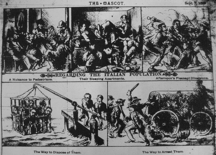"""An anti-Italian political cartoon from New Orleans """"The Mascot"""" newspaper's Sept 7, 1888 issue."""