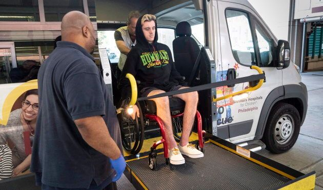 Humboldt Broncos survivor Ryan Straschnitzki arrives at the Shriners Hospital in Philadelphia on June 25, 2018.