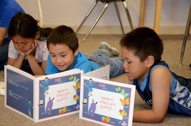 Inuit schoolchildren read aloud in Inuktitut at Leo Ussak Elementary School in Rankin Inlet,