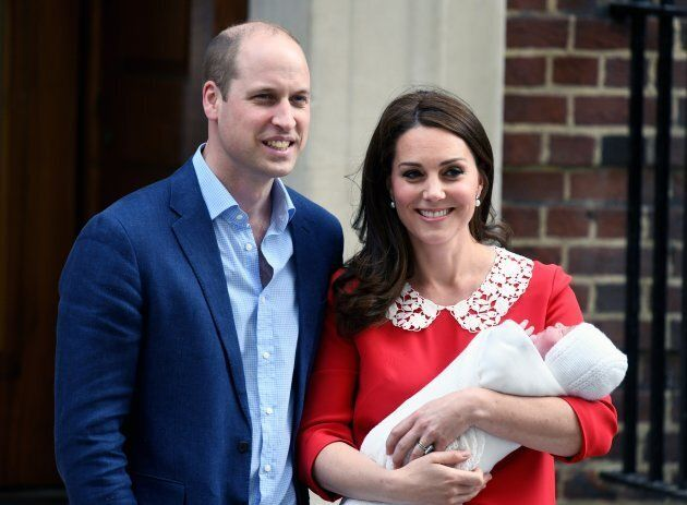 The Duke and Duchess of Cambridge leave St. Mary's Hospital with newborn Prince Louis on April 23,