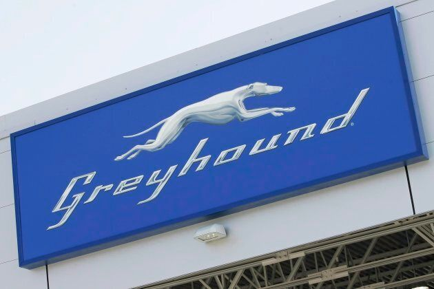A Greyhound logo at the newly opened Greyhound Terminal at the James Richardson International Airport in Winnipeg in 2009.