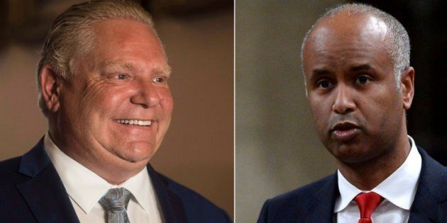 Minister of Immigration Ahmed Hussen, right, said Monday that he takes issue with the Ontario government...