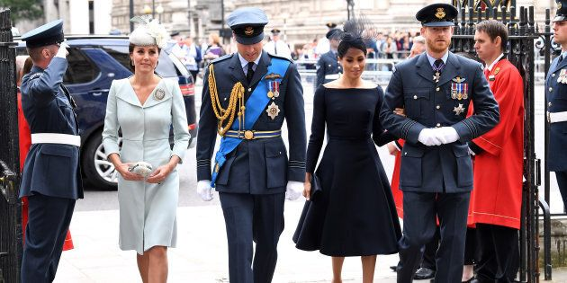 The Duke and Duchess of Cambridge arrive with the Duke and Duchess of Sussex to the RAF Centenary at...