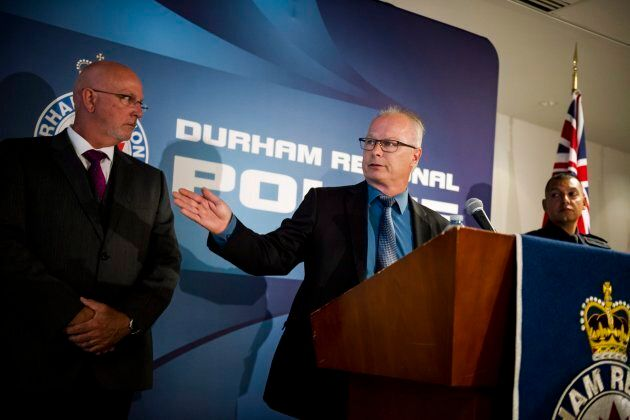 Durham Regional Police Detective Darren Short reveals at a press conference that the remains of Kandis...