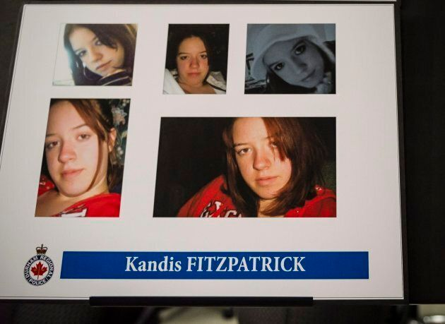 Photos of Kandis Fitzpatrick are shown at a police news conference in Whitby, Ont. on