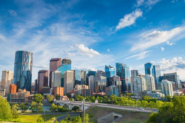 Summertime cityscape image of downtown Calgary,