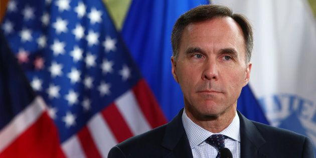 Minister of Finance Bill Morneau holds a news conference after the G7 Finance Ministers Summit in Whistler,...