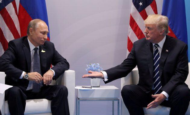 U.S. President Donald Trump meets with Russian President Vladimir Putin during their bilateral meeting...