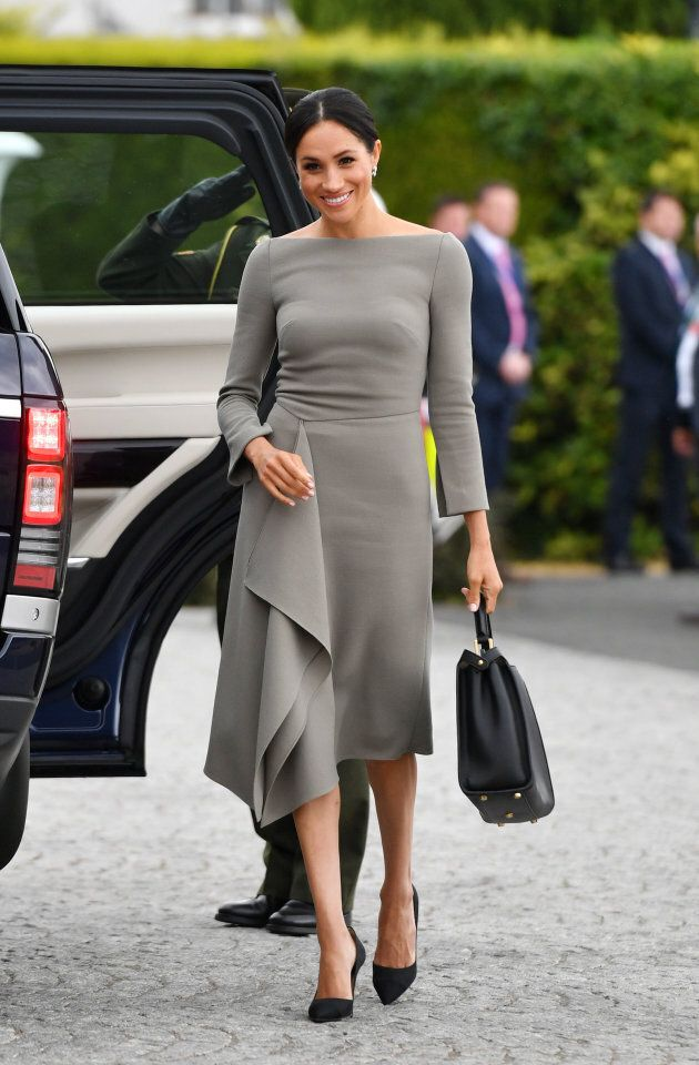 The Duchess of Sussex arriving to meet President Michael