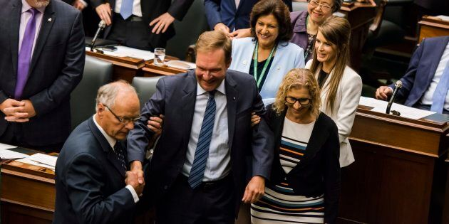 Ted Arnott is carried by fellow MPPs after his election as the new Speaker of the Ontario Legislative...