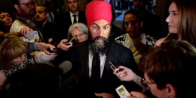 NDP Leader Jagmeet Singh speaks to reporters in the in the Foyer of the House of Commons on June 19,