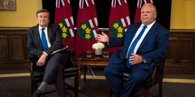 Toronto Mayor John Tory, left, and Ontario Premier Doug Ford meet inside the Premier's office at Queen's...