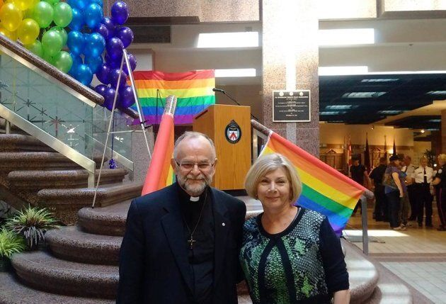 Cheri DiNovo with Rev. Brent Hawkes at the Toronto Police Service headquarters, when the police chief apologized for the 1981 bathhouse raids, on June 22, 2016.