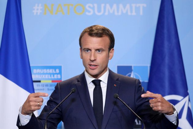 French President Emmanuel Macron addresses a press conference on the second day of the NATO summit in...