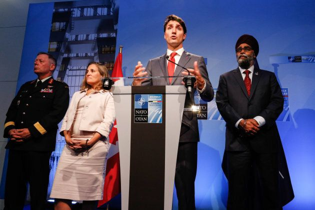 Justin Trudeau gives a closing press conference during the NATO summit in Brussels, Belgium on July 12,
