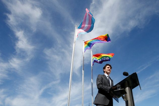 Prime Minister Justin Trudeau speaks during a pride flag raising ceremony on Parliament Hill in Ottawa...
