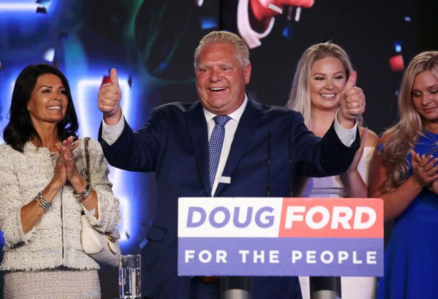 Progressive Conservative leader Doug Ford attends his election night party with his wife Karla Ford and...