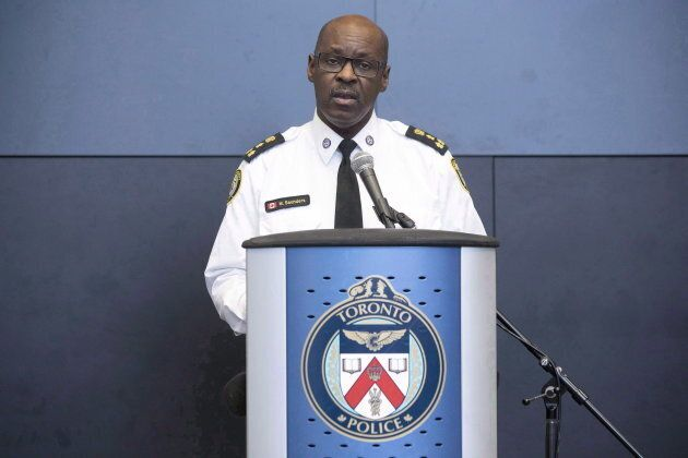 Toronto Police Chief Mark Saunders addresses journalists gathered at police headquarters in Toronto on...