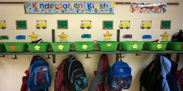 Coats and backpacks hang off a wall uside a classroom at Thorn Lodge Public School in Mississauga, Ont.