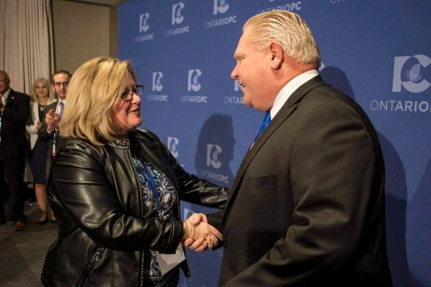 Doug Ford is congratulated by Lisa Thompson, chair of the PC Ontario caucus after Ford was named leader of the Ontario Progressive Conservatives in Markham, Ont. on March 10, 2018.