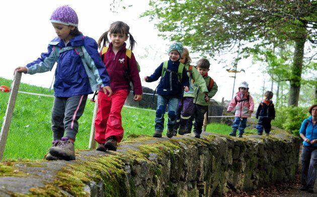 Children exploring the outdoors.