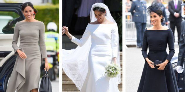 Meghan Markle wearing boatneck dresses (left to right) on a trip to Ireland, at her wedding, and an Air...