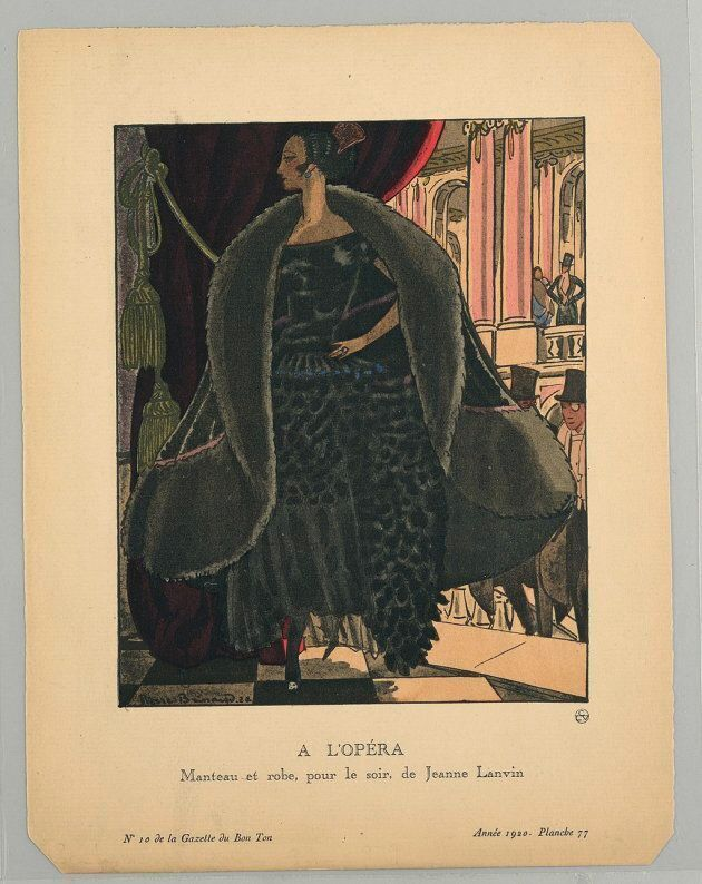 French print, circa 1920, of a Jeanne Lanvin boatneck dress design. The caption reads