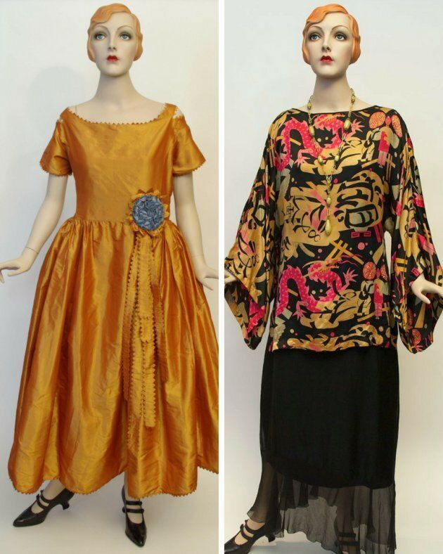 Left: a Jeanne Lanvin boatneck dress design from Winter 1921. Right: a Chinese print silk blouse with...
