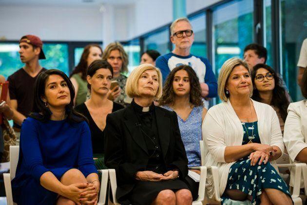 Farrah Khan, left to right, Reverend Cheri DiNovo and Ontario NDP Leader Andrea Horwath attend a press...