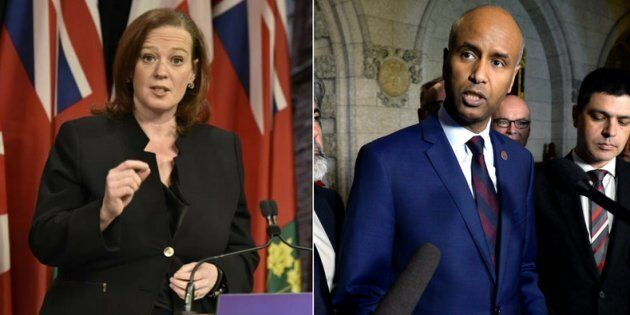 Ontario cabinet minister Lisa MacLeod and Immigration Minister Ahmed Hussen pictured in file photos. Hussen and MacLeod held heated press conferences in Winnipeg on Friday.