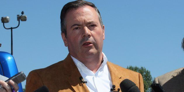 United Conservative Party Leader Jason Kenney meets with reporters at the Blackfoot Diner and Truck Stop,...