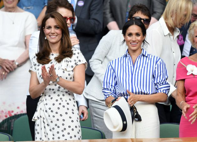 Duchess Of Cambridge, Duchess Of Sussex Attend Wimbledon In Crisp Summer