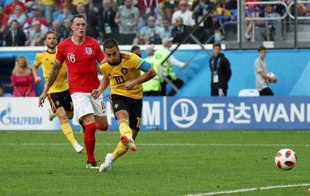 Belgium's Eden Hazard scores the team's second goal against England on Saturday in St. Petersburg.