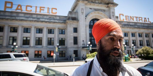NDP Leader Jagmeet Singh speaks at a news conference outside Pacific Central Station in Vancouver, on
