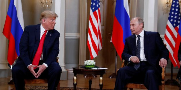 U.S. President Donald Trump meets with Russia's President Vladimir Putin in Helsinki, July 16,